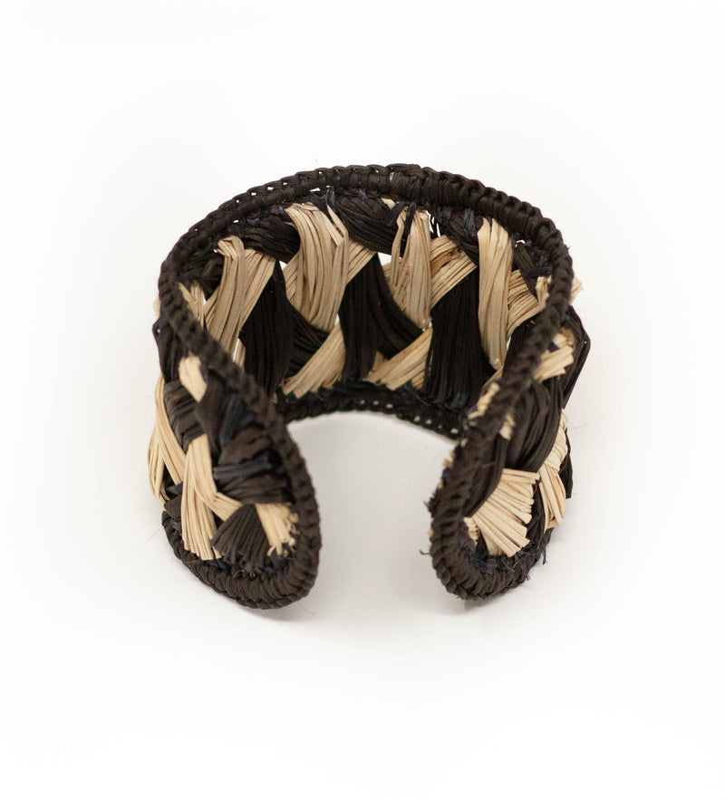 Colombian Woven Raffia Cuff: Black with Natural