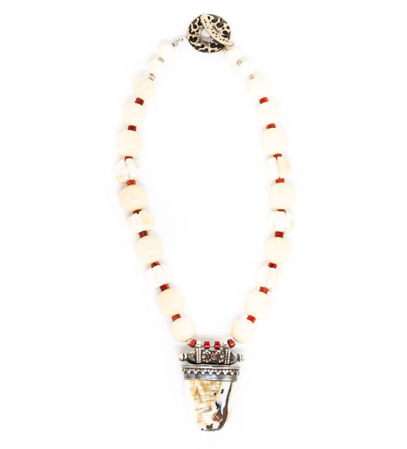 Conch Shell, Bone, and Coral Beaded Necklace
