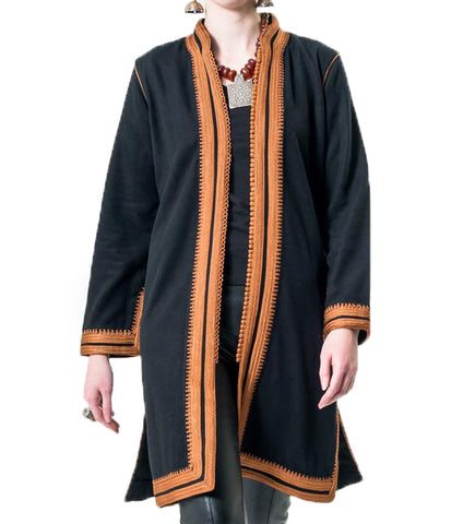 Moroccan Long Velvet Jacket: Black