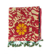 Cotton Kantha Scarf: Red and Orange Floral