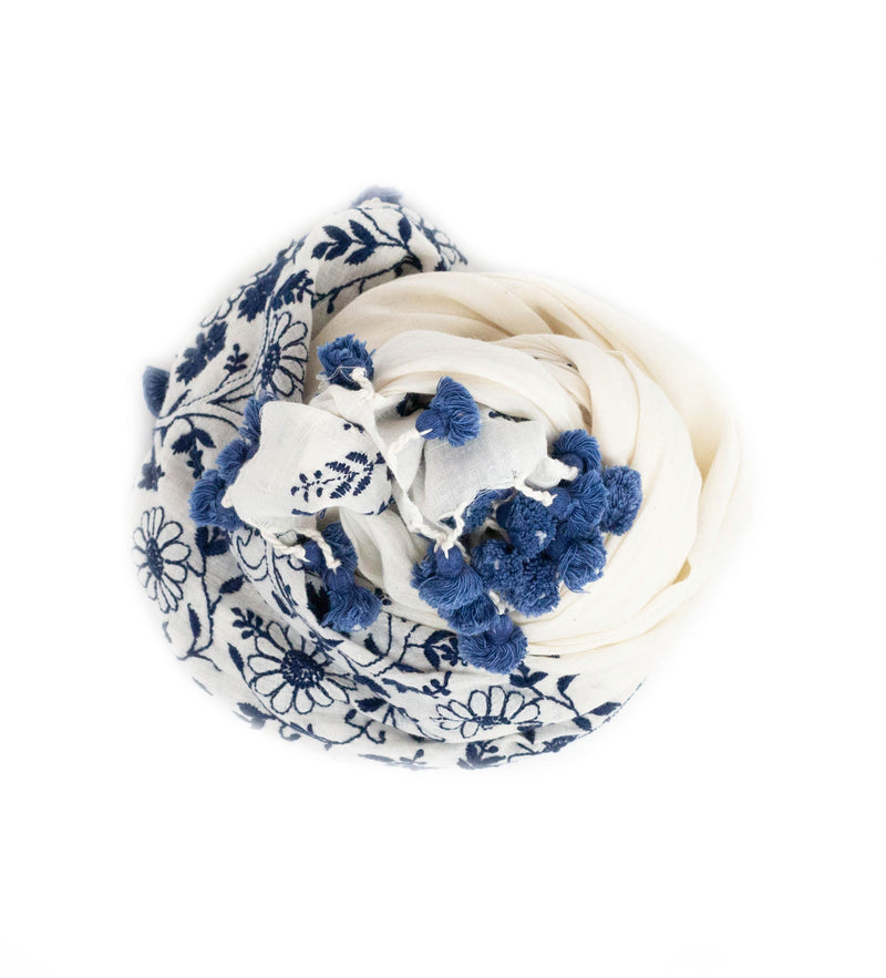 Hand Embroidered Floral Shawl: Navy