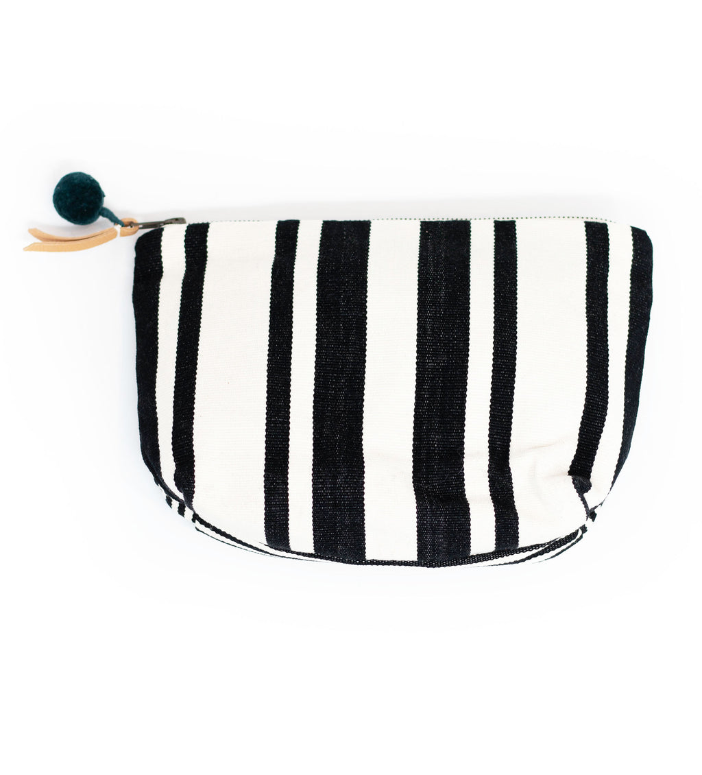 Cristina Cosmetic Pouch: Black Multi Stripe