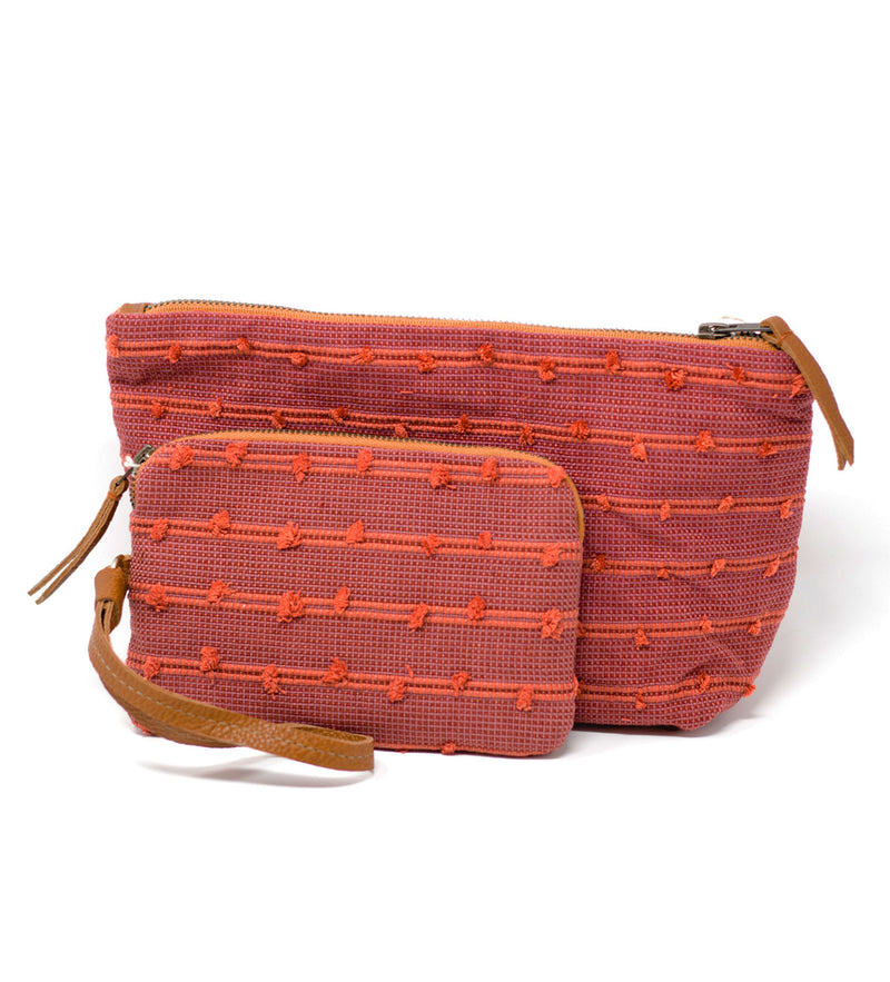 Cristina Cosmetic Pouch: Cochineal Basketweave Tufts