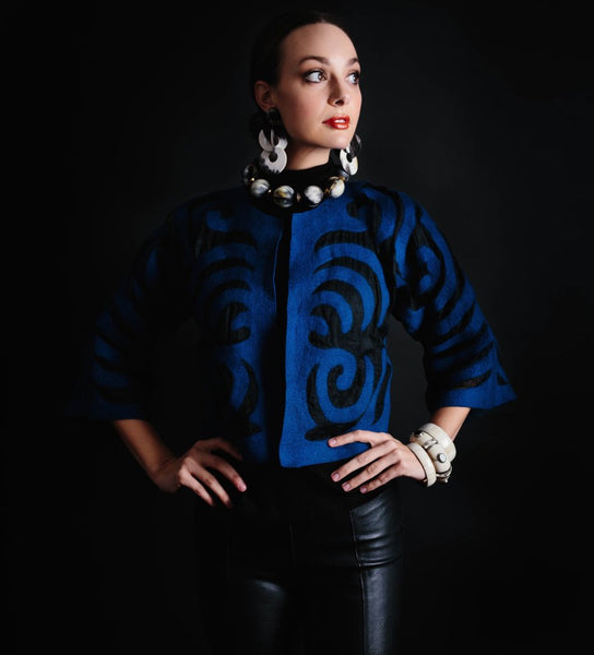 Cropped Felted Jacket: Dark Blue on Black