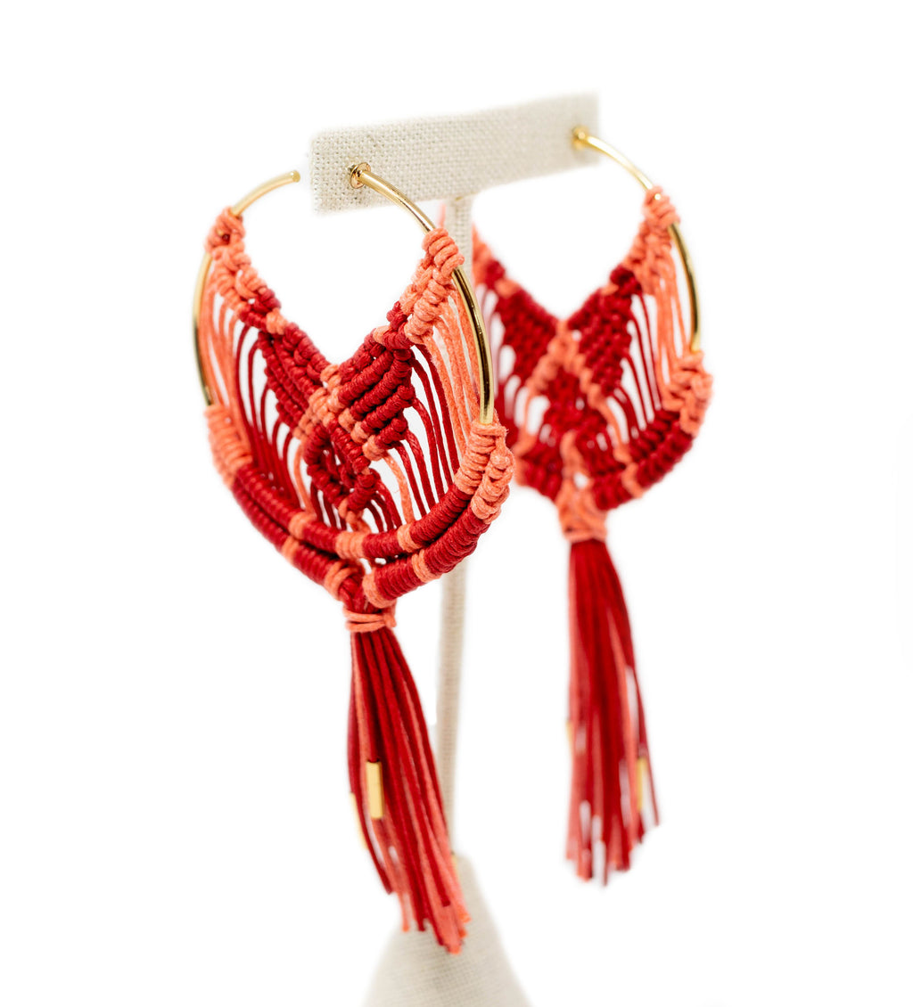 Cru Hoop Earring: Coral and Red
