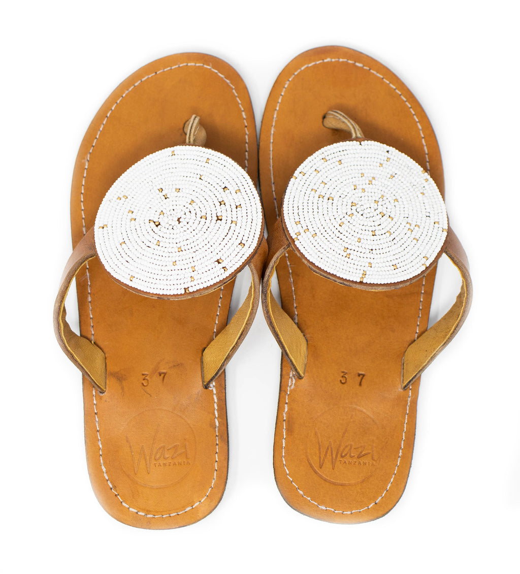 Curlew White Beaded Sandal