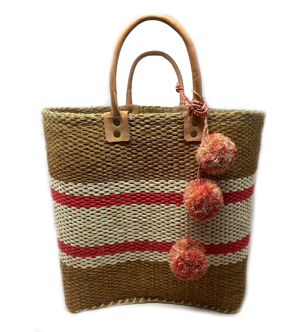 Cyprus Stripe Tote with Poms: Coral