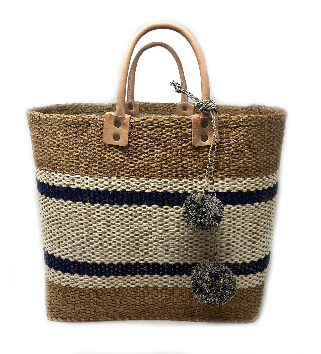 Cyprus Striped Tote with Poms: Navy