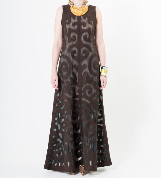 Kyrgyz Felted Long Dress: Black on Chocolate
