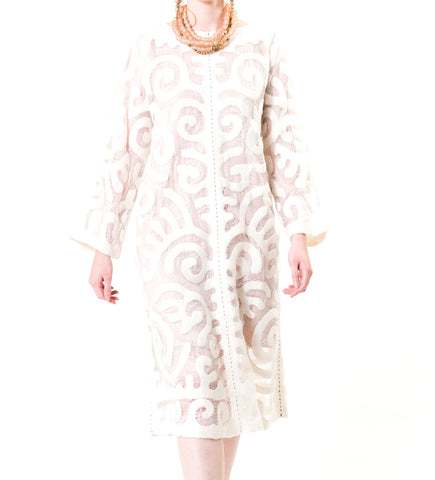 Kyrgyz Felted Swing Dress: White on White