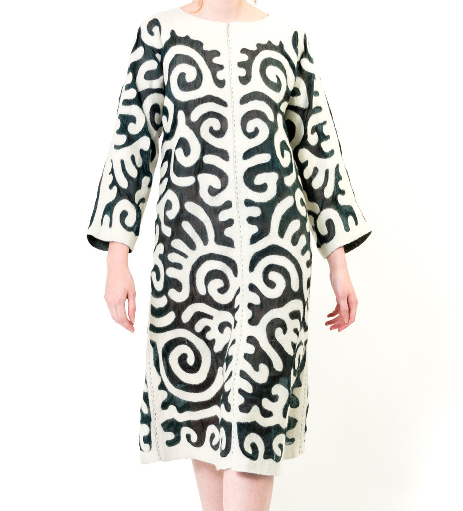 Kyrgyz Felted Swing Dress: White on Black