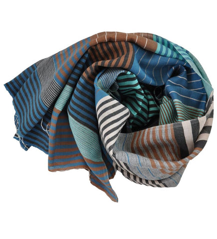 Laksha Block Printed Scarf: Silver and Blue