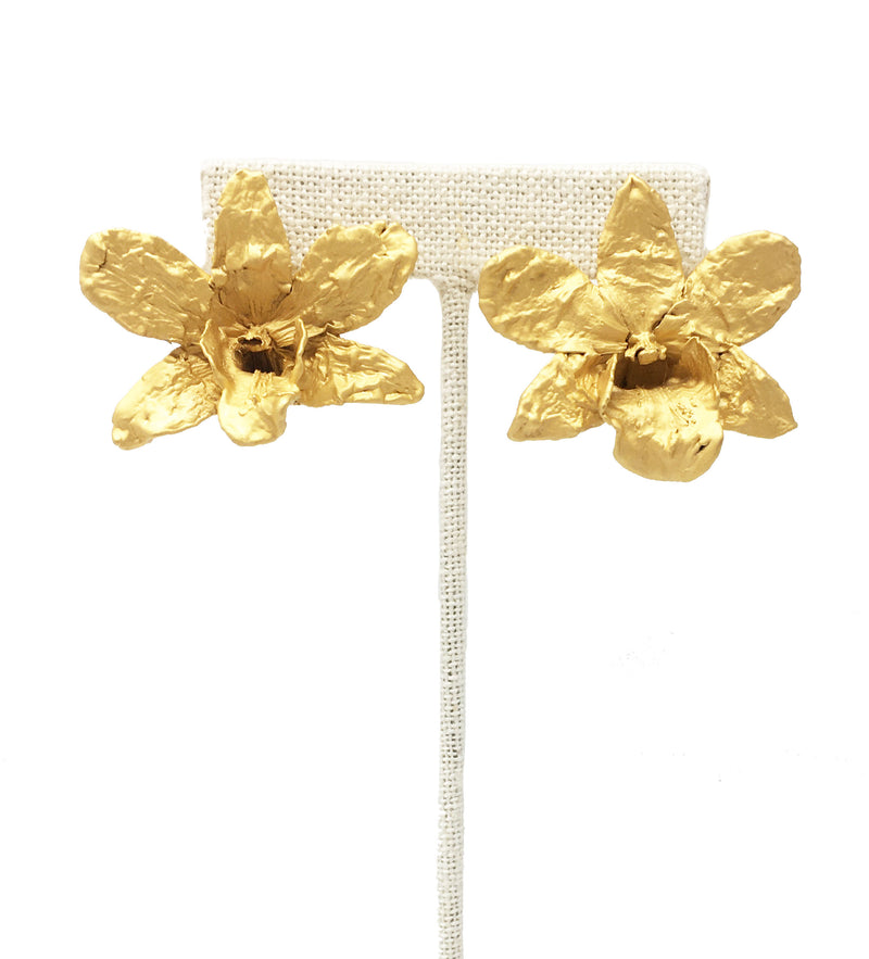 Dainty Gold Orchid Earring