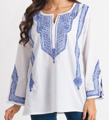Studio Maeve Striped Embroidered Tunic