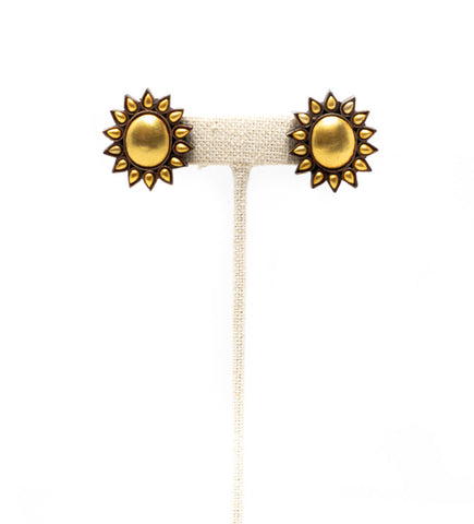 Beaded Brass Cuff: Black