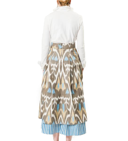 Double Layer Ikat Skirt: Blue/ Taupe