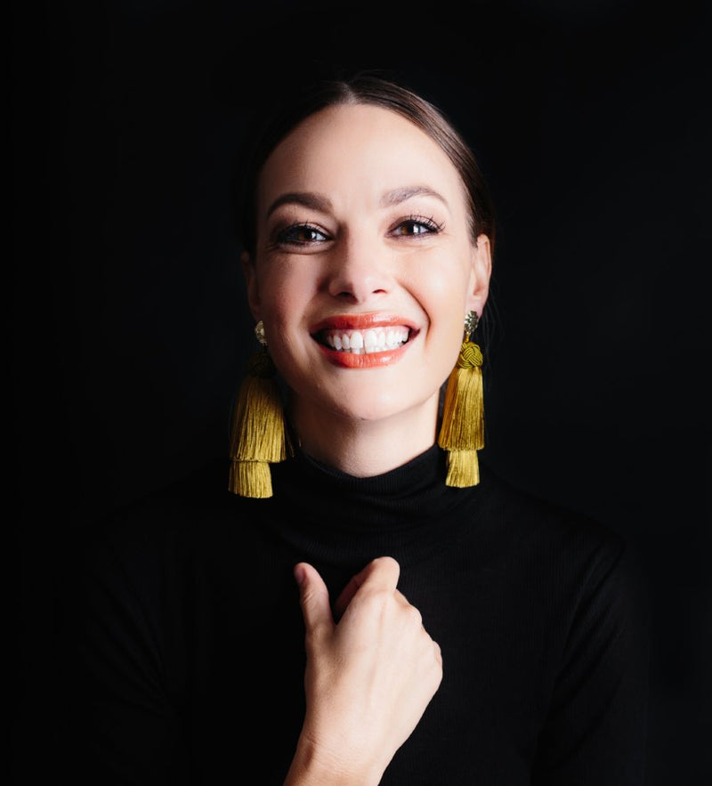 Double Tassel Earrings: Chartreuse