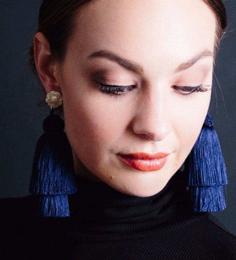 Double Tassel Earrings: Midnight