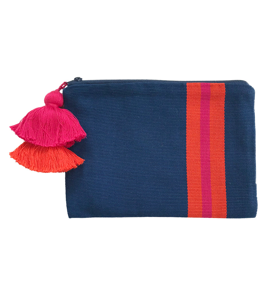 Double Tassel Stripe Pouch: Navy