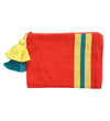 Double Tassel Stripe Pouch: Orange