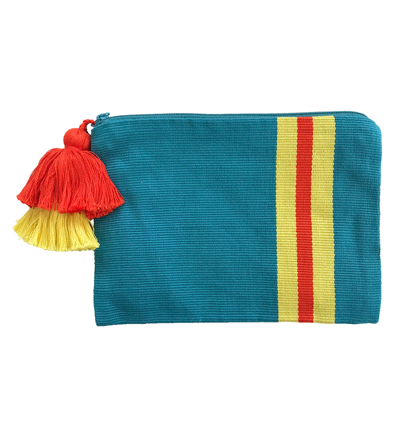 Double Tassel Stripe Pouch: Teal
