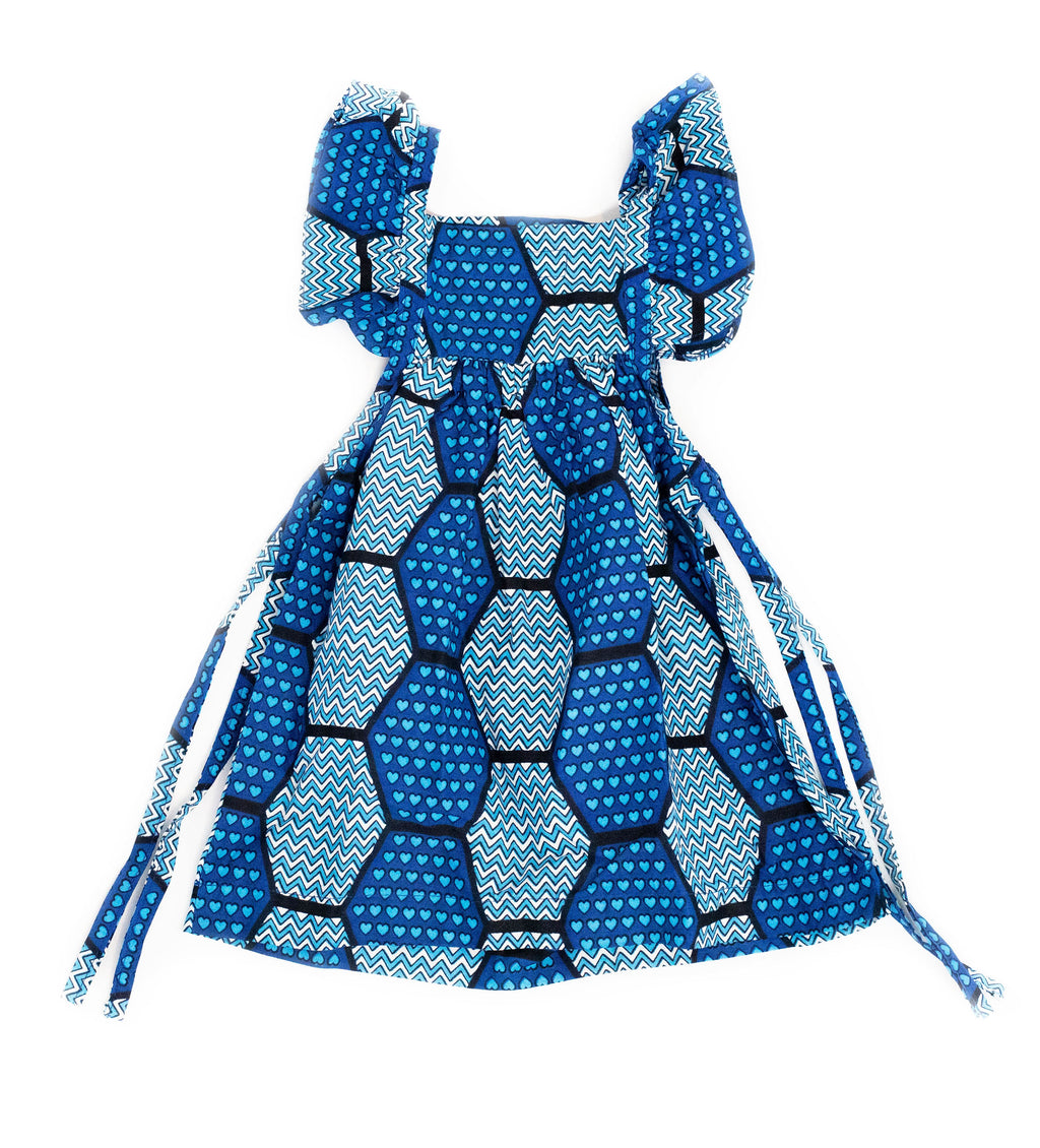 Duka Children's Ruffle Dress: Blue Heart