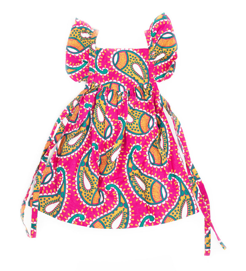 Duka Children's Ruffle Dress: Pink Paisley