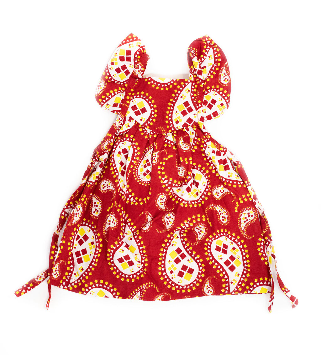 Duka Children's Ruffle Dress: Red Paisley