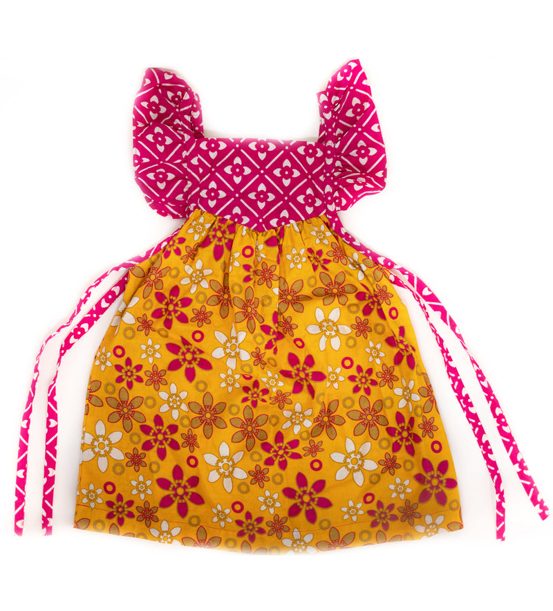 Duka Children's Ruffle Dress: Yellow Flower