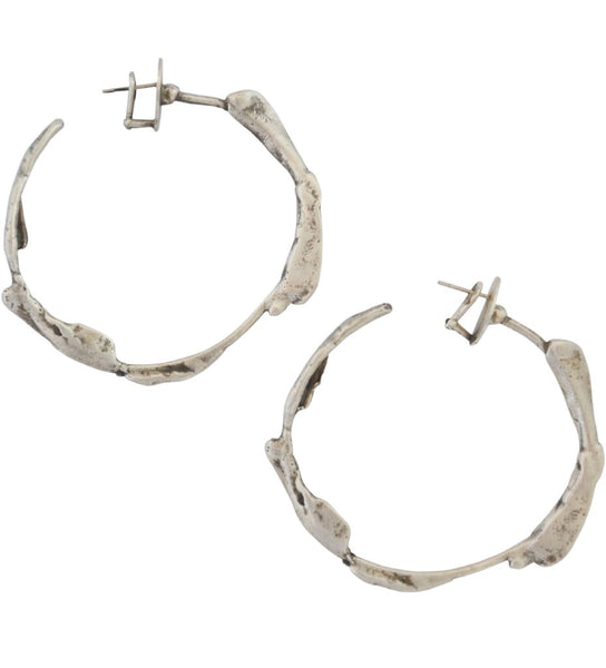 Sterling Silver Irregular Hoop Earrings