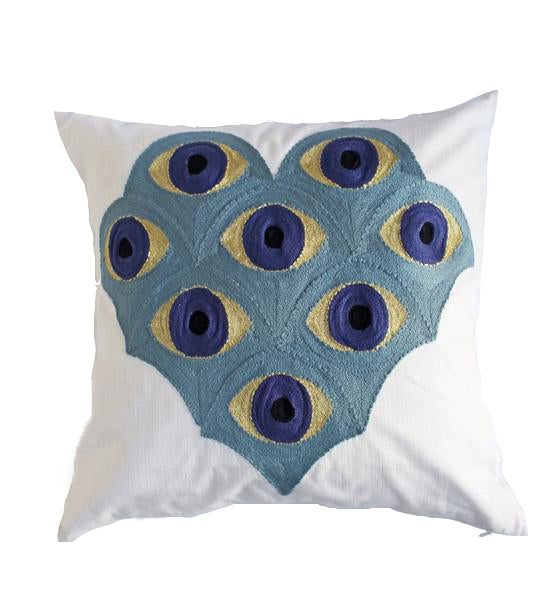 Embroidered Eye Pillow: Sky Blue