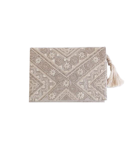 Embroidered Clutch: Natural