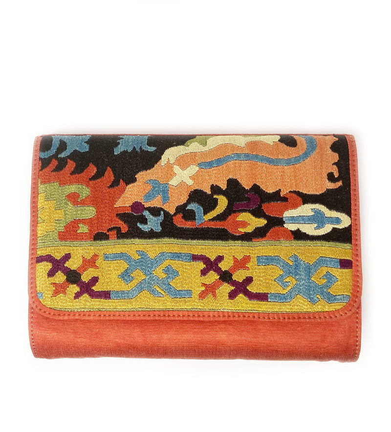 Embroidered Clutch: Graphic Red