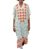 Phulkari Silk Embroidered Caftan: Seafoam