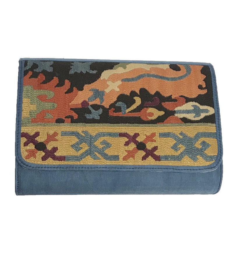 Embroidered Clutch: Graphic Blue