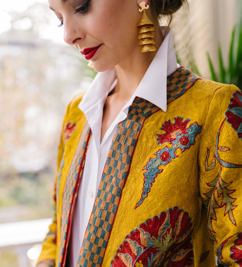 Embroidered Jacket: Mustard Yellow: PREORDER