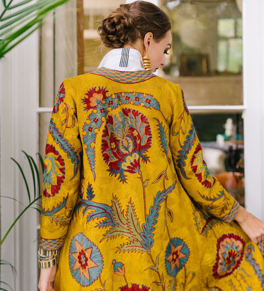Embroidered Jacket: Mustard Yellow