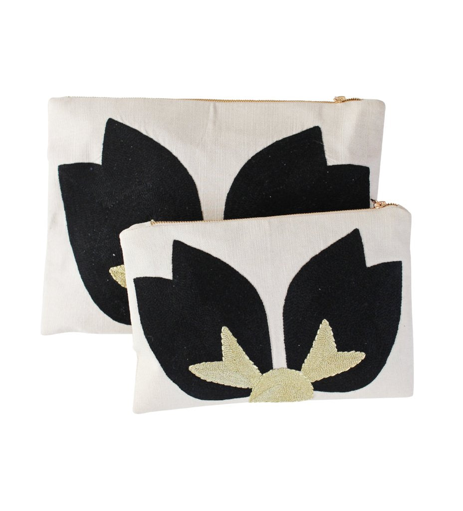 Embroidered Lotus Clutch: White with Black
