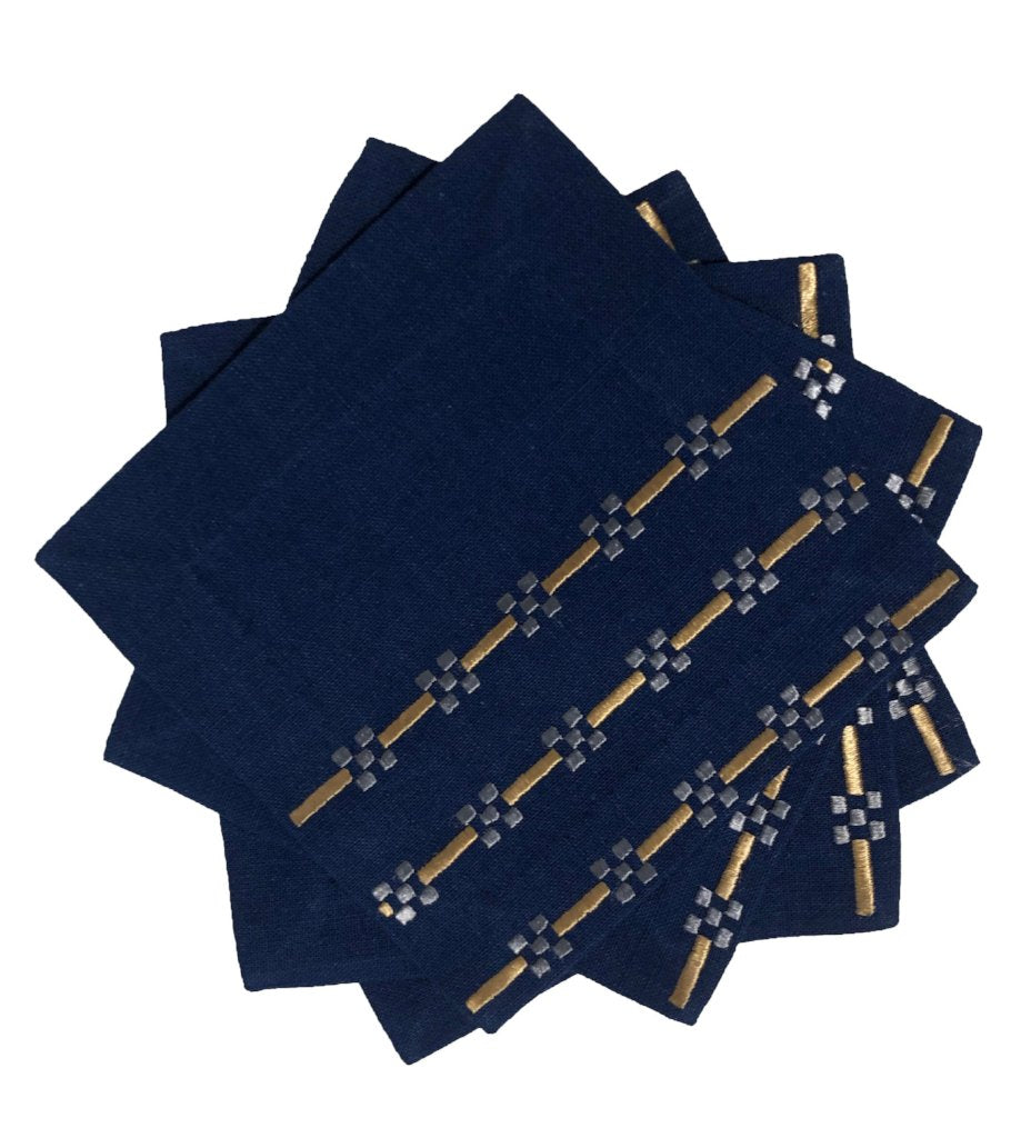 Hand Embroidered Cocktail Napkins: Horizontal Lines Navy