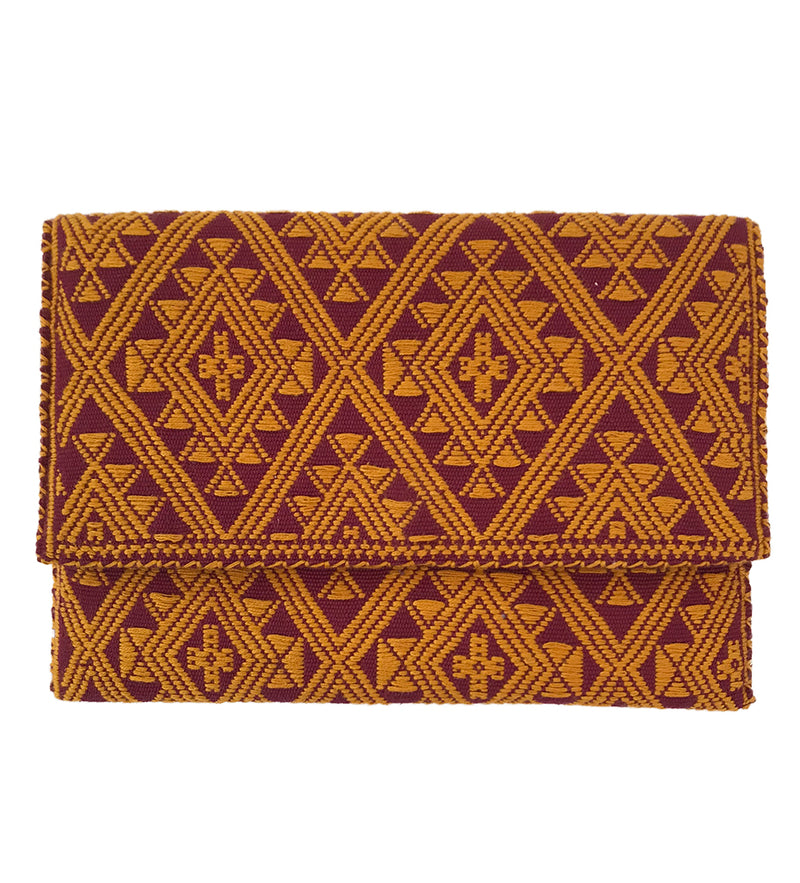 Embroidered Small Clutch: Garnet and Gold