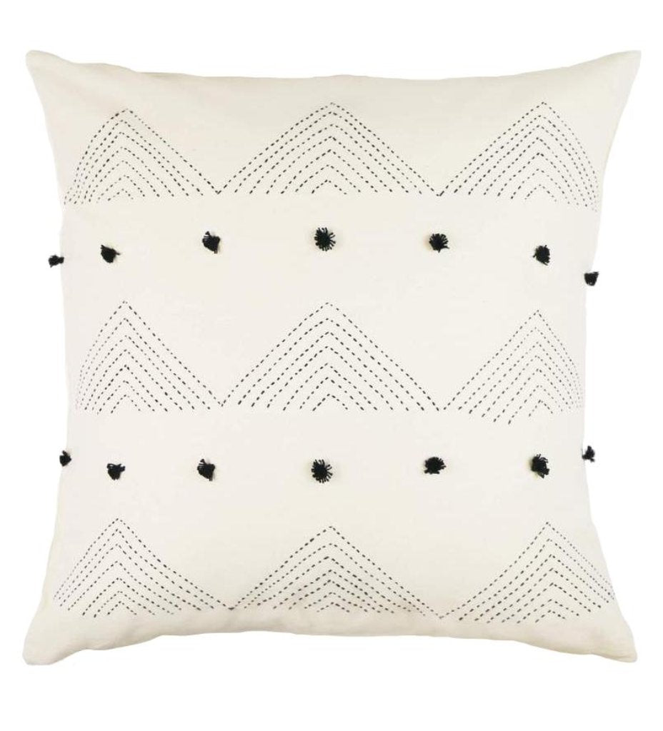 Embroidered Triangle Cross Pillow