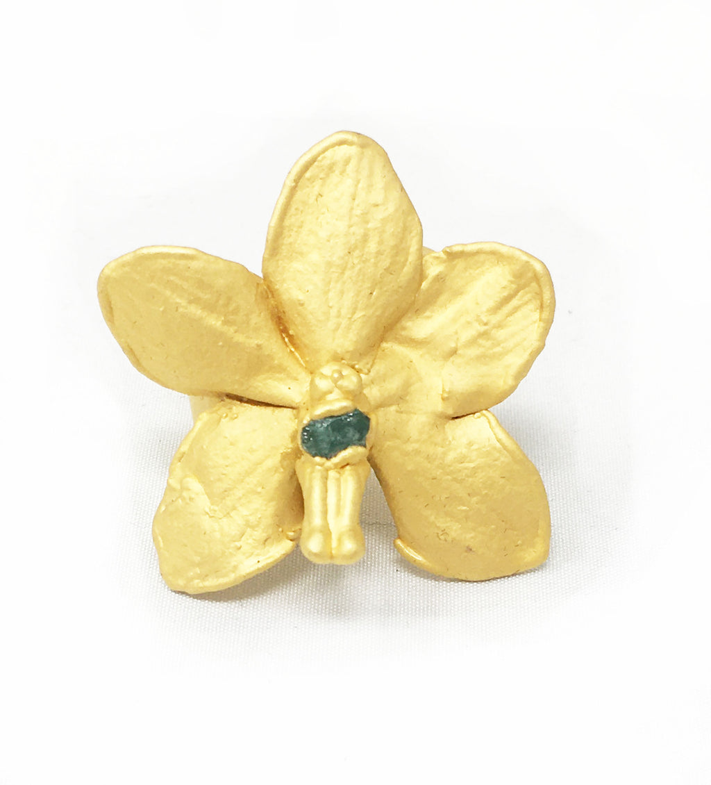 Emerald Stone Orchid Ring