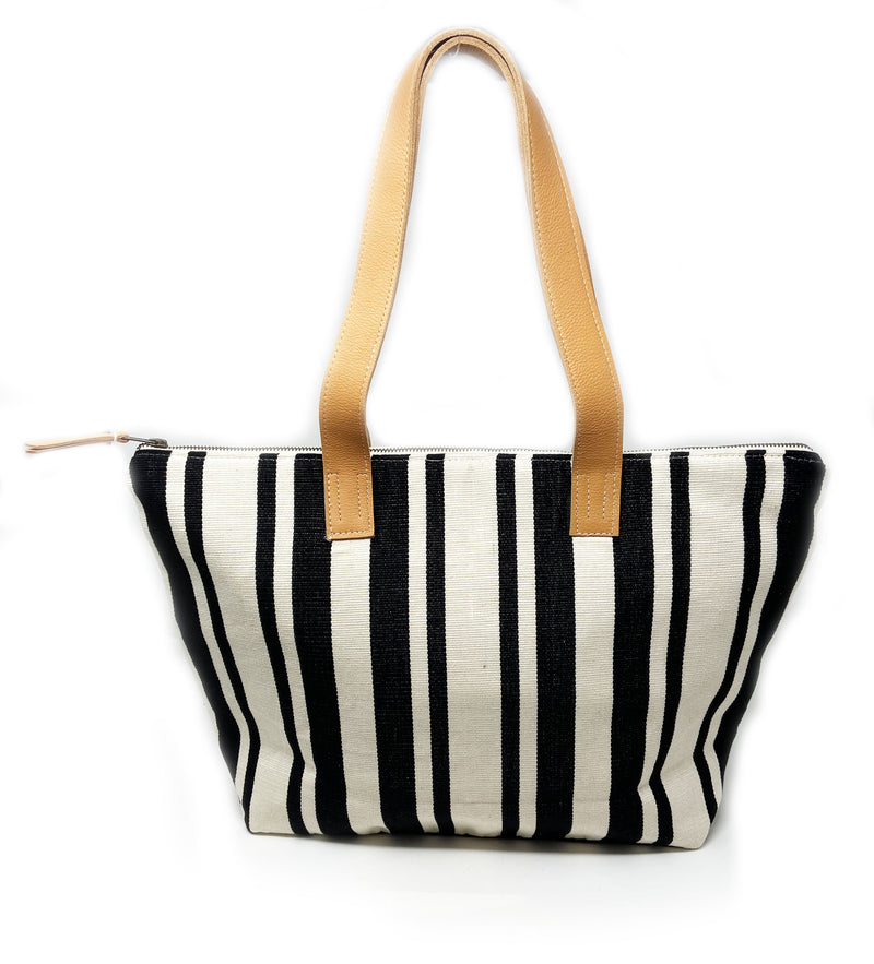 Estella Tote Bag: Black Stripe