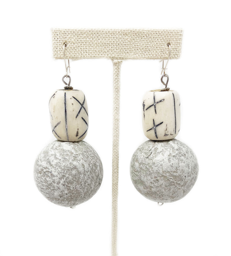 Etched Bone and Paperstone Earring