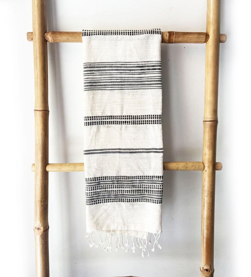 Ethiopian Cotton Hand Towel: Natural with Gray Ribs