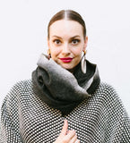 Felted Collar Shawl: Black