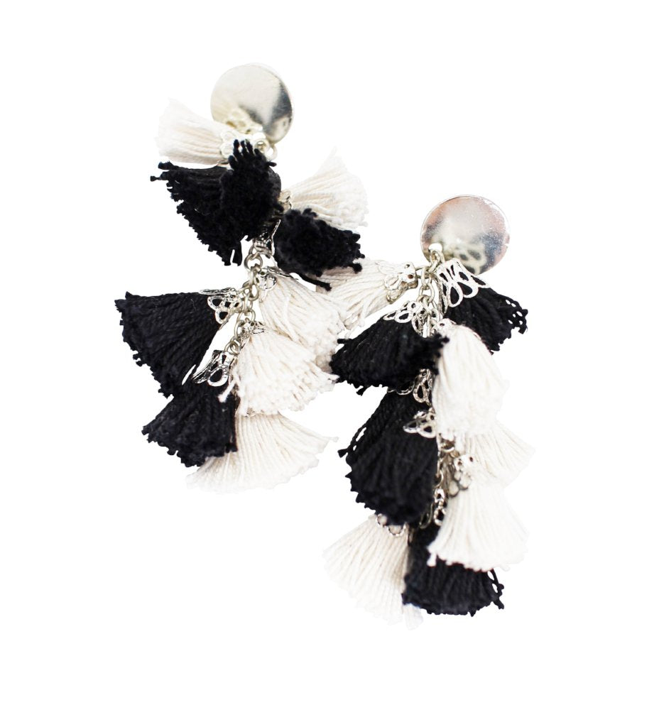 Fiesta Earrings: Black and White