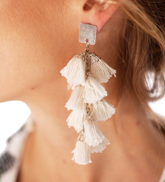Fiesta Earrings: White