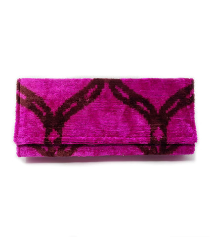 Fold Over Velvet Ikat Clutch: Fuchsia and Plum