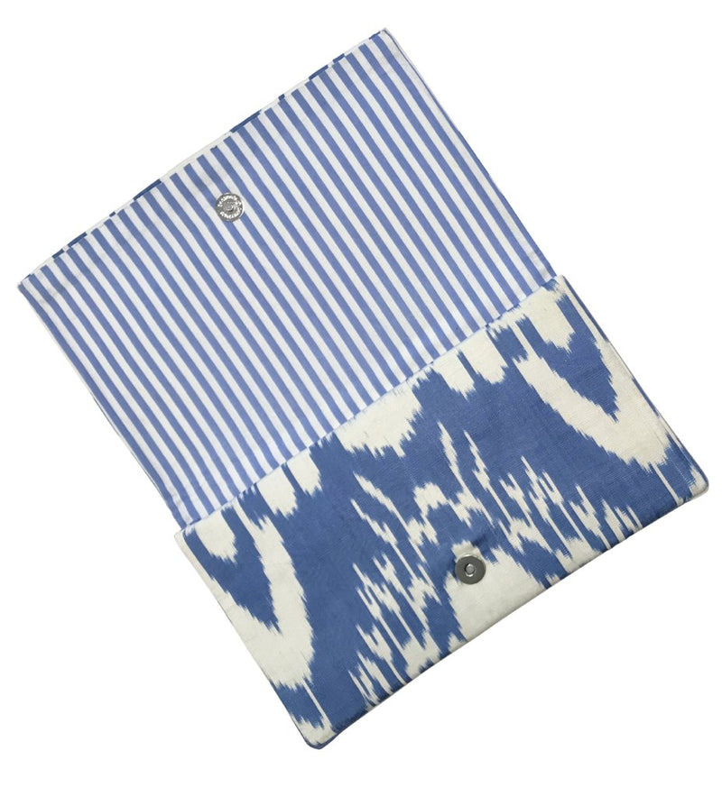 Fold-Over Ikat Clutch: Spring Blue